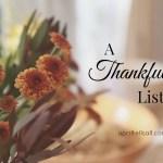 A Thankful List