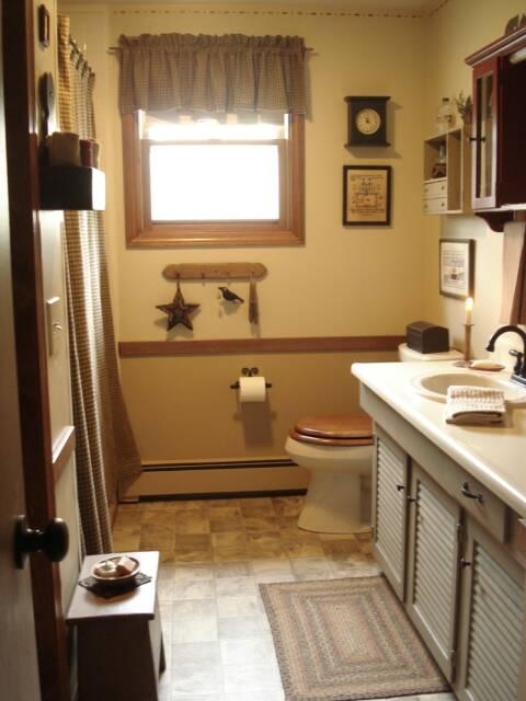 A Primitive Place ~ Primitive & Colonial Inspired Bathrooms on Rustic:s9Dkpzirpk8= Farmhouse Bathroom  id=12430