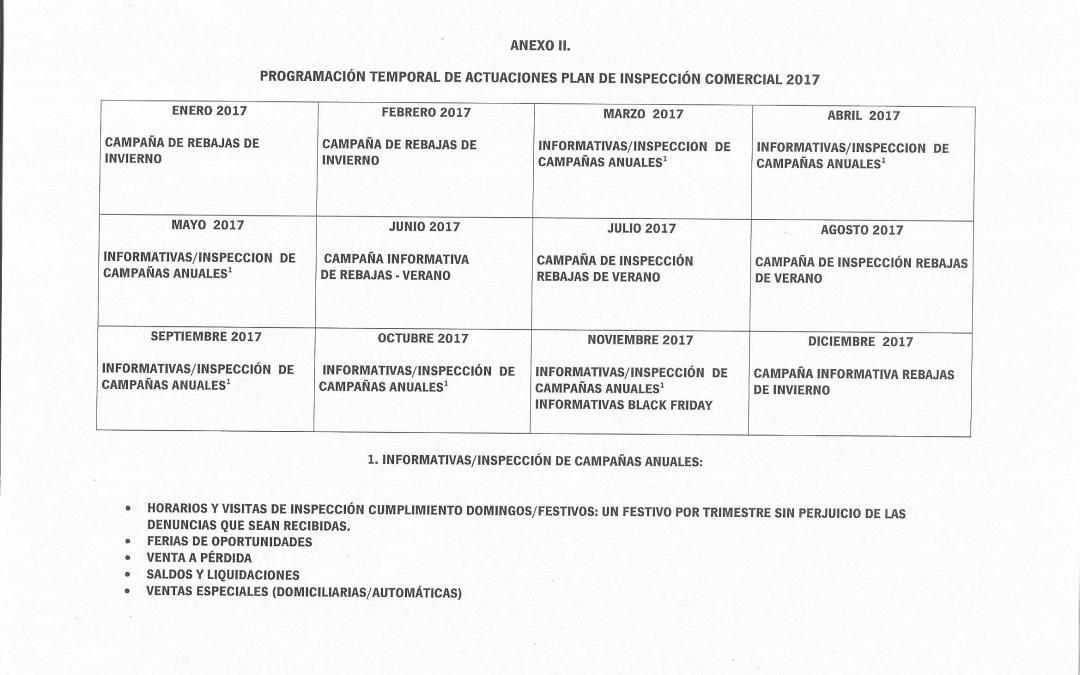 Plan de Inspección Comercial de Andalucía para el año 2017