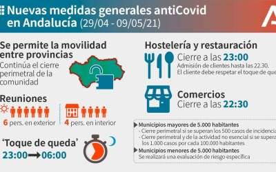 La Junta anuncia nuevas medidas a partir del 29 de abril. Cierre de comercios a las 22.30 h y apertura de movilidad interprovincial