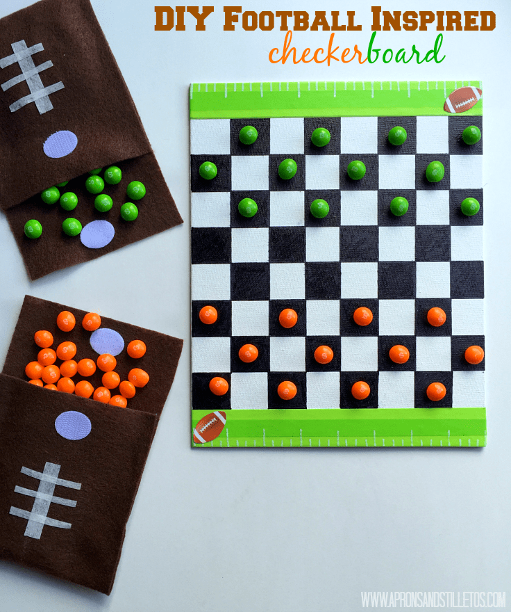 DIY Football Inspired Checker Board and Game piece pouch