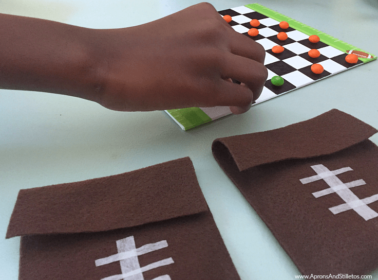 DIY Football Inspired Checker Board + Game piece pouch