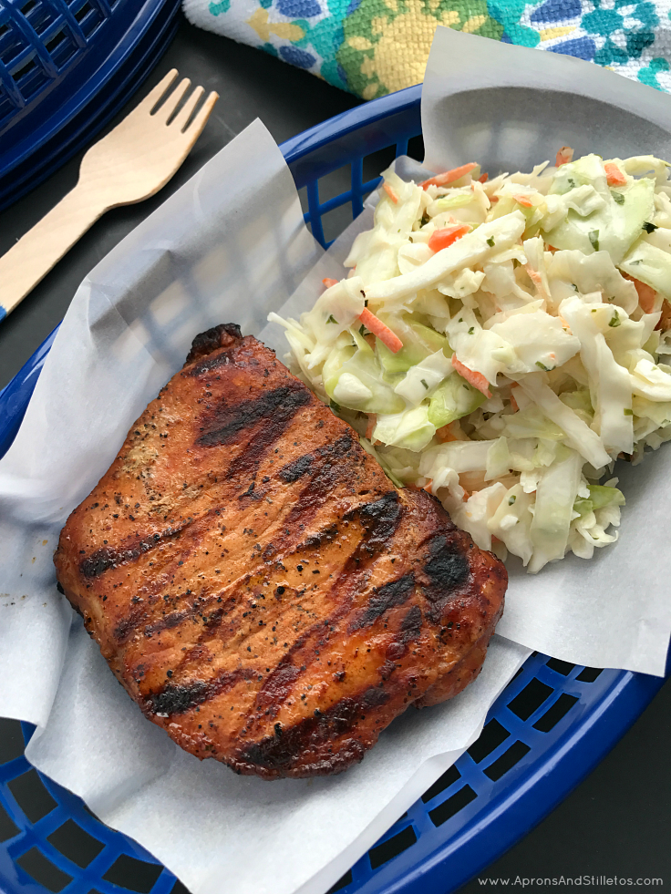 Grilled Pork Chops with Mint and Lime Basil Slaw