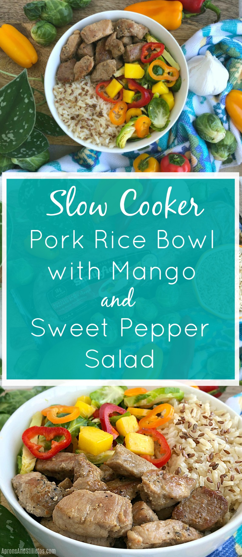 Slow Cooker Pork Rice Bowl with Mango & Sweet Pepper Salad