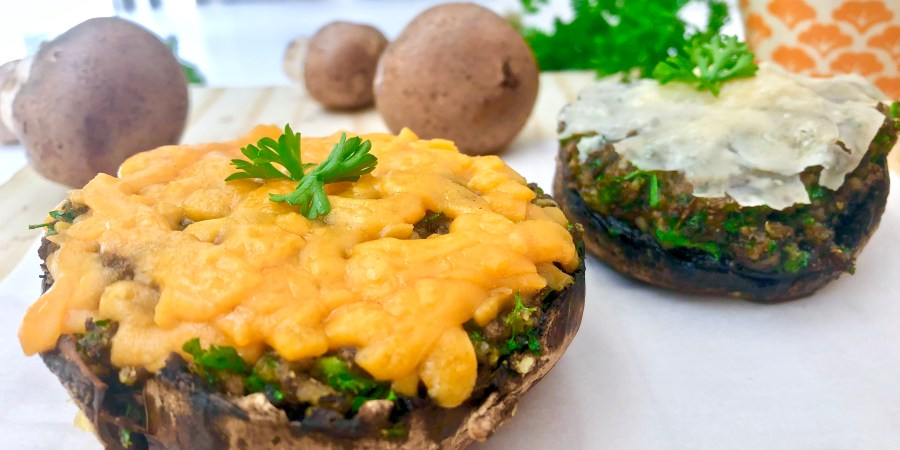 Grilled Herb & Cheese Stuffed Portobello Mushrooms