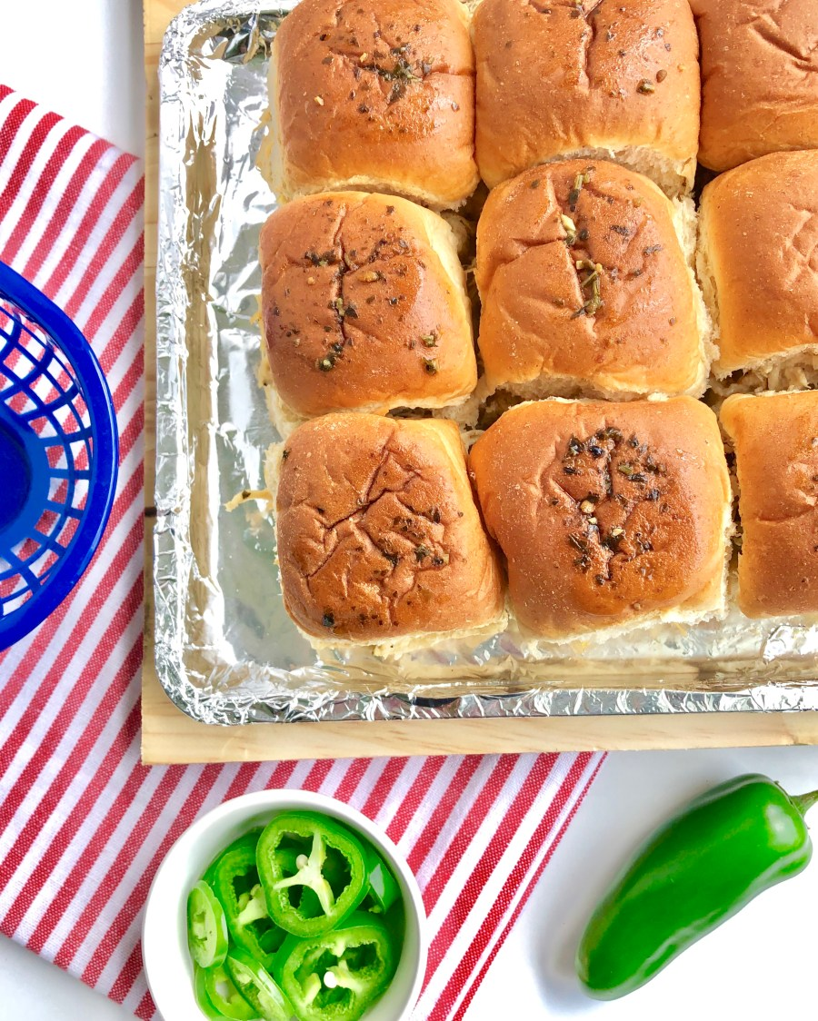 Chicken Jalapeño Cheddar Dip Sliders