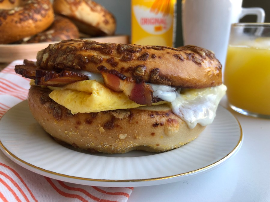Egg, Bacon and Asiago Cheese Bagels