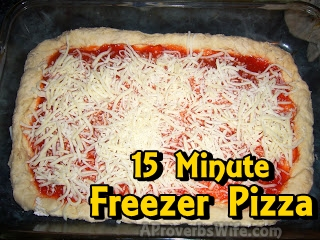 15 Minute Homemade Freezer Pizza | AProverbsWife.com