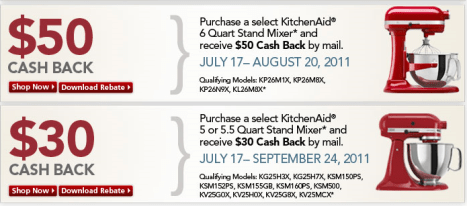 KitchenAid Stand Mixer Rebates (Up To $50 Cash Back) | A ...