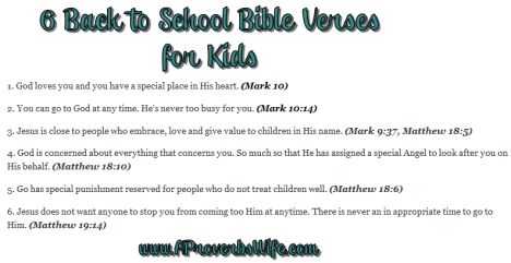 6 Back to School Bible Verses for Kids | AProverbsWife.com | Homemaking Binder