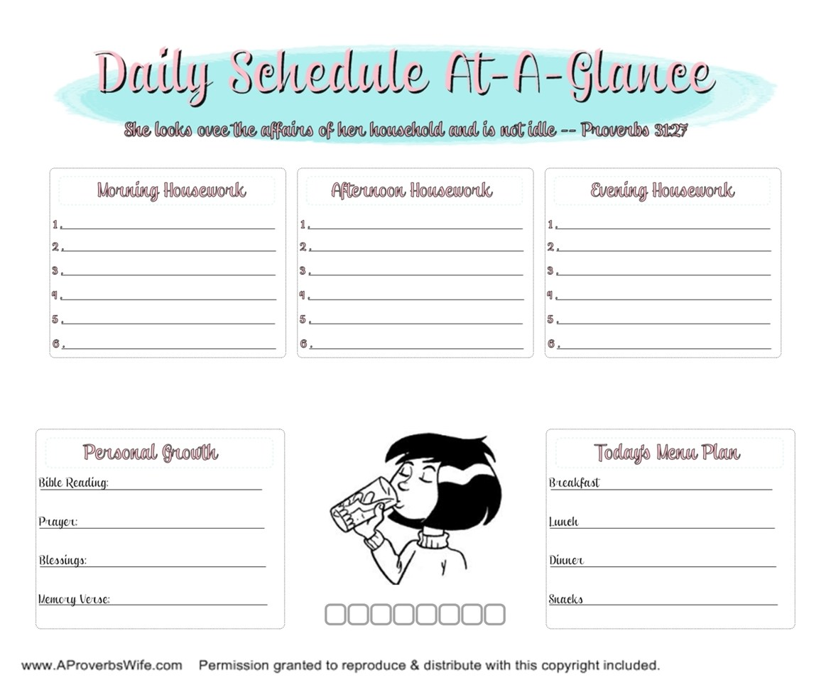 Daily Homemaking Schedule | AProverbsWife.com