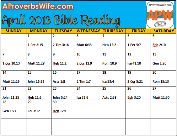 April Bible Reading Plan