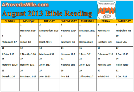 August Bible Reading Plan