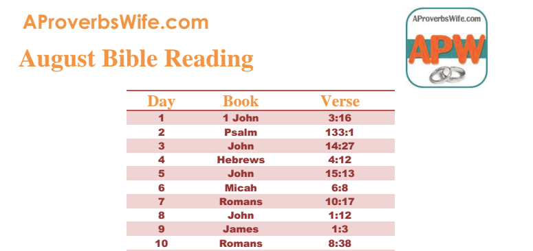 FREE Printable September Bible Reading Plan |1 Verse a Day