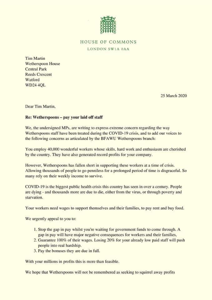 Letter to Tim Martin