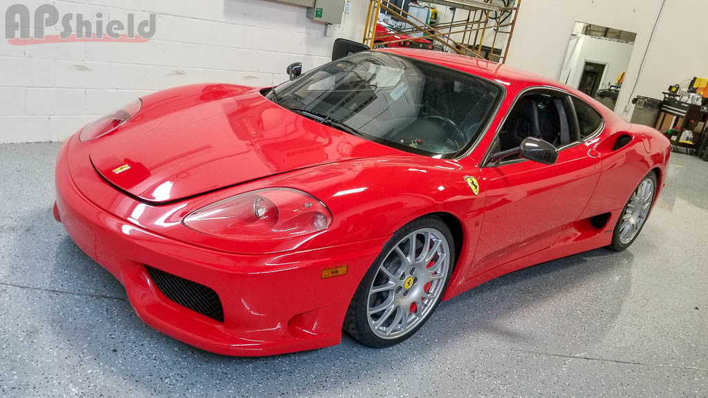 Red Ferrari Challenge Stradale at AP Shield for full paint protection film wrap in Toronto