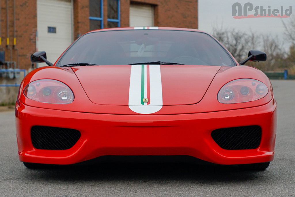 Ferrari Challenge Stradale with racing stripes in Toronto