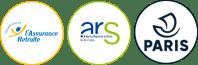 Trois logos horizontaux de nos trois partenaires principaux : l'Assurance Retraite (CNAV), l'ARS IDF et la Ville de Paris