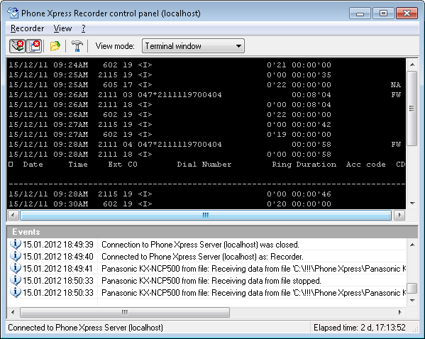 "Phone Xpress Recorder control panel, ""Terminal Window"" mode"