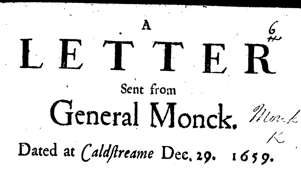The letter sent to General Monk that ended Cromwellian government and invited the King back to England, to sit as the legislator with the Houses of Parliament.