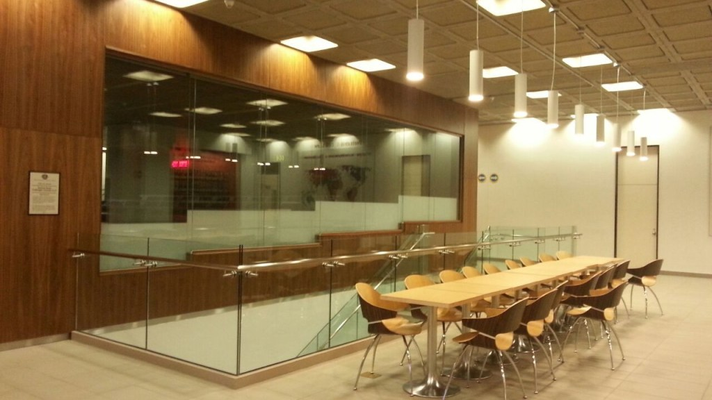 A law school classroom overlooking a hallway, a common site for legal education.