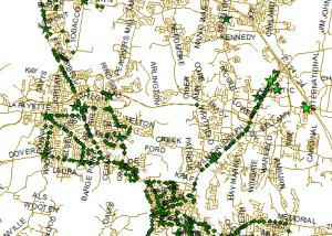 Bus stops data of Clarksville