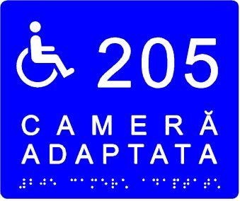 plăcuță tactilă indicare cameră adaptată nevoilor persoanelor cu dizabilități