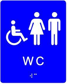 plăcuță tactilă indicator WC accesibil persoane cu dizabilități