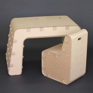 Cardboard Desk and Chair Set