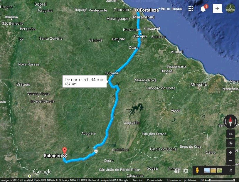 Distância de Fortaleza a Serra da Estrela, em Saboeiro: 450 km. Fonte: Google Maps.