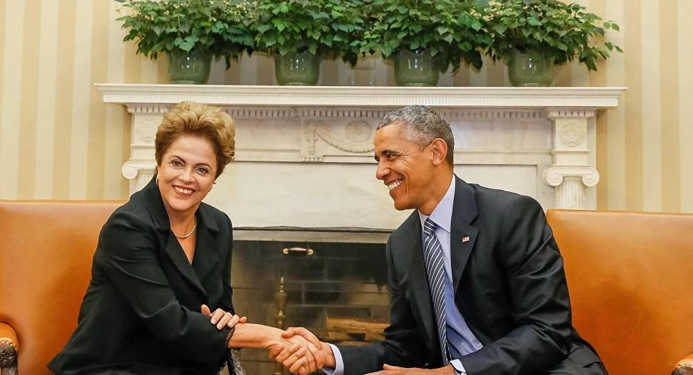 Dilma Rousseff é recebida por Barack Obama no EUA. Foto: Agência Brasil