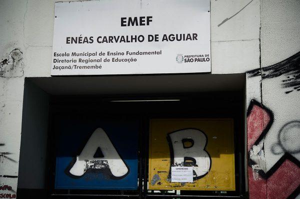 Entrada da EMEF Enéas Carvalho de Aguiar, zona norte da capital. Por causa da falta de água há dias em que as crianças são dispensadas. Foto: Felipe Paiva