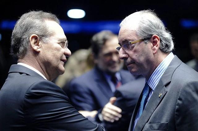 O presidente do Congresso, Renan Calheiros (PMDB-AL), e o presidente da Câmara, Eduardo Cunha (PMDB-RJ)