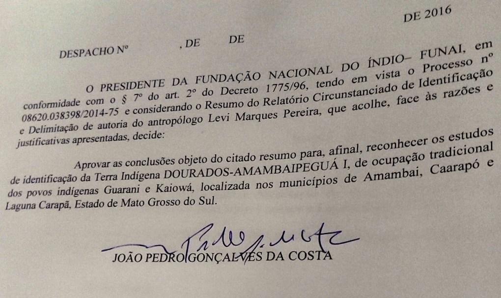 O último despacho da Funai na gestão petista delimitou a terra indígena Dourados-Amambaí Peguá I (Foto: Ciro Barros/Agência Pública)