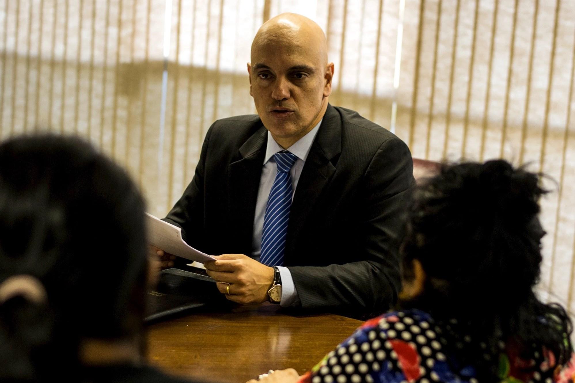 Ministro da Justiça: com lideranças indígenas, Alexandre de Moraes foi evasivo sobre revisão de demarcações (Foto: Tiago Miotto/MNI)