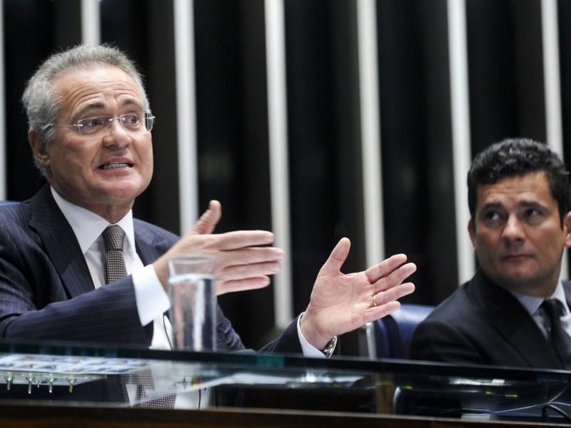 Renan Calheiros e o juiz federal Sérgio Moro, em debate sobre o projeto que define o crime de abuso de autoridade