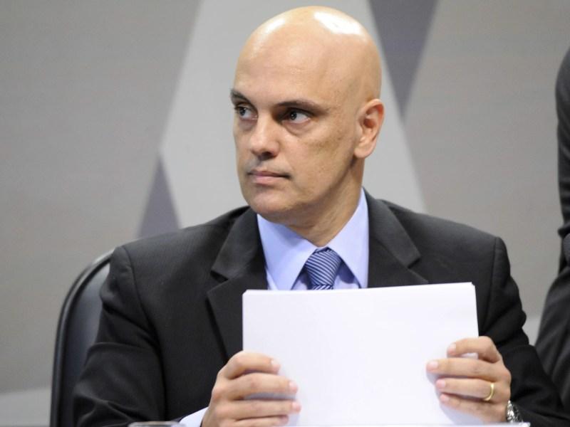 O ministro da Justiça licenciado, Alexandre de Moraes, em sabatina.