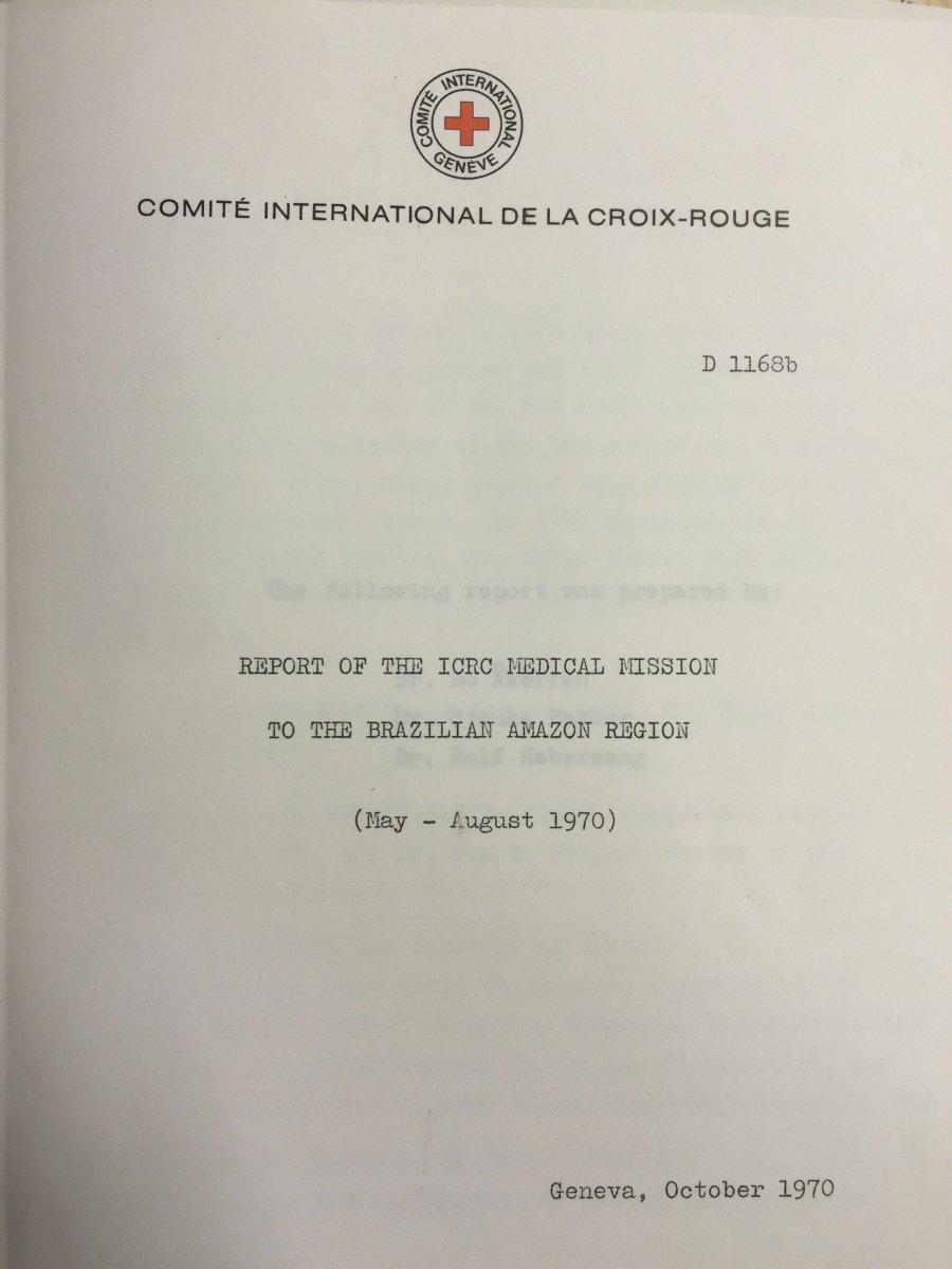 Capa do relatório sobre a missão do CICV à Amazônia em 1970