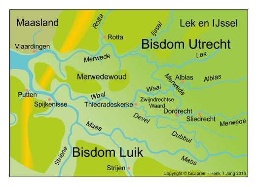 Reconstructie van Zuid-Holland tussen ca 1000 en 1025. Alle plaatsen en rivieren bestonden in die tijd, maar zijn wel in modern Nederlands weergegeven.