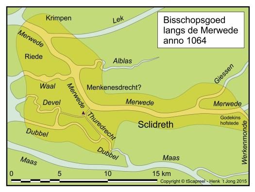 Een ruwe reconstructie van het omstreeks 1064 ontgonnen gedeelte van het land langs de oevers van de Merwede (die toen langer was dan nu) en zijn zijrivieren (Copyright tScapreel/Henk 't Jong 2016).