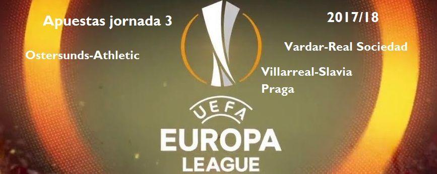 Las apuestas para la tercera jornada de la Europa League 2017-2018Encuentros asequibles para los representantes españoles