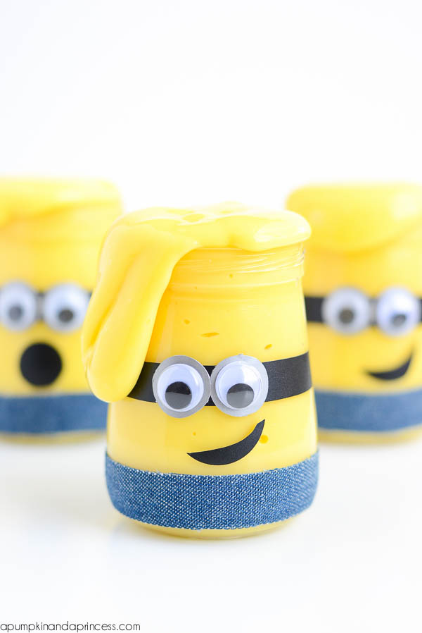 "DIY Minions Slime Tutorial | a Pumpkin & a Princess ""Kids will love playing with this Minion slime! This easy recipe makes a great boredom buster and Minion party favor."""