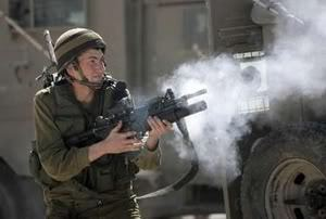 Israeli soldier fires tear gas