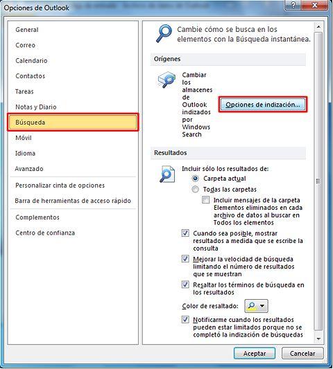 Cómo resolver problemas con la búsqueda en Outlook_Captura2