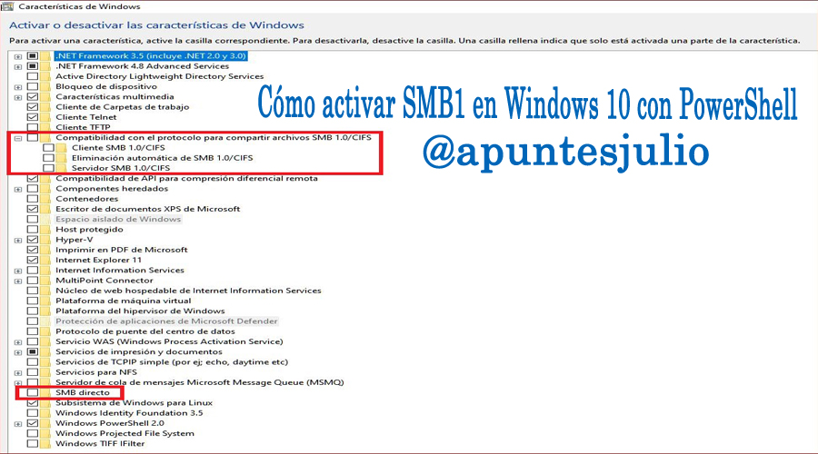 Cómo activar SMB1 en Windows 10 con PowerShell