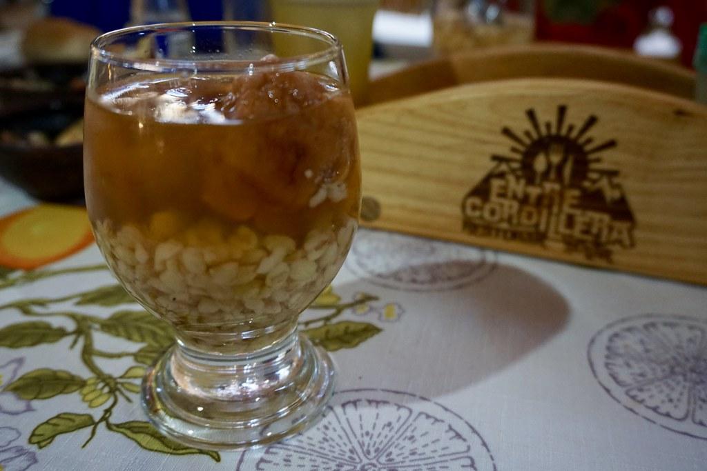 Mote con Huesillo en Restaurante Entre Cordillera