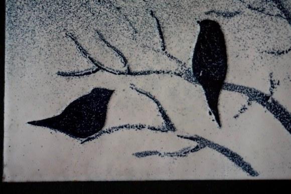 Aves en esmalte sobre cobre