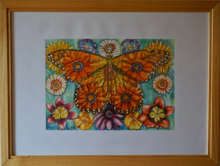 Mariposa y flores en acuarela