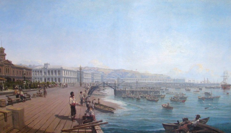 Thomas Jacques Somerscales. Antiguo muelle Valparaíso, 1882.