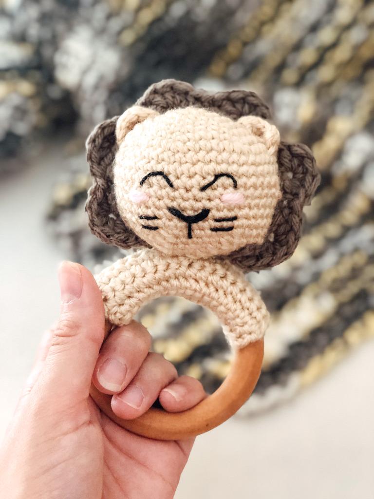 Lion Teething Ring Rattle- Free Pattern